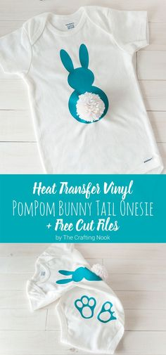 This cute heat transfer vinyl pompom bunny tail onesie is the easiest craft and the perfect gift for a mommy and  baby! Try it, it's so pretty! Popular Pins!
