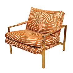 vintage 1970s brass lounge chair in brunschwig and fils zebra