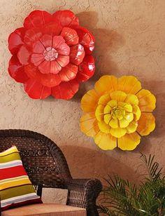 Flower Ombre Metal Wall Art Patio Makeover Flowers Hanging Back