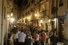 "Vibrant nightlife on calle Laurel ""La senda de los elefantes"" in #Logrono, #Rioja. #tapas street pinned with Pinvolve"