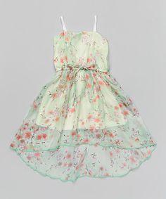 Look at this #zulilyfind! Mint Floral Chiffon Dress & Charcoal Shrug - Toddler & Girls by Citlali's Choice #zulilyfinds