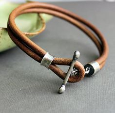 Mens Leather Bracelet Rustic Natural Light Brown Handmade. $74.00, via Etsy.