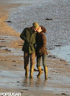 : Prince William and Kate Middleton cozied up during a January walk by the water in Wales in 2012.