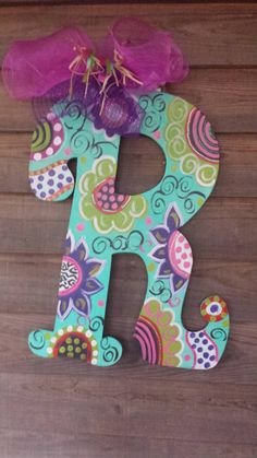 Super Cute Spring Colorful Wooden Inital/letter Door Hanger