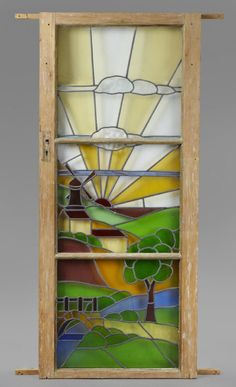 """STAINED GLASS PINE DOOR, English early 20th c. 73"""" x 31 3/4"""" wide : Lot 1507 found on liveauctioneers.com"""