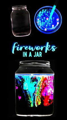 Glowing fireworks in a jar science experiment for kids. This activity is great f… Glowing fireworks in a jar science experiment for kids. This activity is great for the of July! Science Projects For Kids, Cool Science Experiments, Fun Crafts For Kids, Science For Kids, Diy For Kids, Chemistry Science Fair Projects, Kids Fun, Interesting Science Fair Projects, Teen Summer Crafts