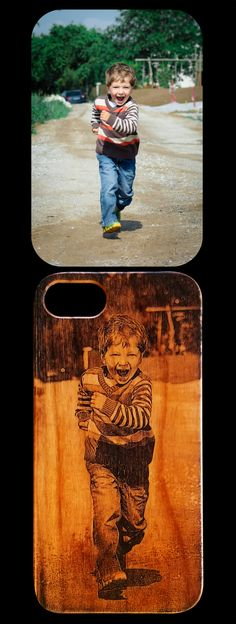 Photo Realistic Laser Engraved Cherry Wood iPhone case for iPhone 6 thru X, XS, XR, XS Max