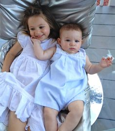 Big sister in a Jacadi dress from Clementine, little brother in a classic romper. Kids Wear, Maternity, Flower Girl Dresses, Nyc, Rompers, Wedding Dresses, Classic, How To Wear, Clothes
