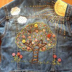 Baby Gap Denim Jean Jacket Embroidered Tree Size 4 | eBay