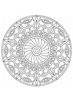 This advanced Mandala coloring sheet has a fun design and is quite challenging to color. Perfect for distress adult or amuse kids.