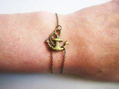 Sideways Anchor Bracelet, Antique Bronze Bracelet, Anchor Jewelry, Anchor Brass Bracelet, Anchor charm on chain, double chain, RobertaValle. $9.50, via Etsy.