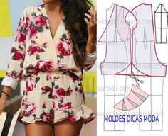 Mod@ en Line Sewing Patterns Free, Free Sewing, Clothing Patterns, Dress Patterns, Diy Clothing, Sewing Clothes, Diy Fashion, Ideias Fashion, Fashion Design