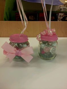 Balloon weights for babyshower:) baby food jars, pink and clear stones, baby headband. Painted pink lids and ribbon! Baby Girl 1st Birthday, First Birthday Parties, First Birthdays, Baby Jars, Baby Food Jars, Diy Party Essentials, Baby Food Jar Crafts, Tinkerbell And Friends, Baby Food Containers