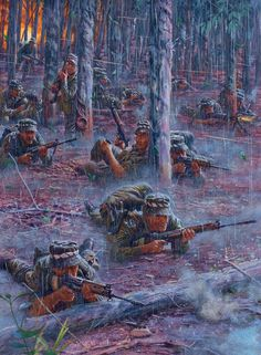 """On 18 August 1966 at Long Tan, South Vietnam, elements of D Company, Battalion, The Royal Australian Regiment made contact with what would turn out to be a regiment of Viet Cong supported by at least a battalion of North Vietnamese Army forces"""": Military Art, Military History, North Vietnamese Army, Ddr Museum, Military Drawings, Vietnam War Photos, South Vietnam, Vietnam Veterans, Modern Warfare"""
