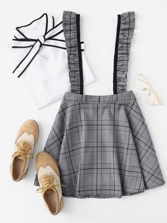 Wales Check Skirt With RuffleFor Women-romwe