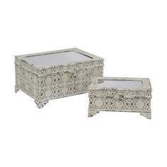 Find your inner French cottage designer and embrace this beautiful set of two Lalamonde Metal Boxes. You'll be mesmerized by their intricate design, featuring metal bases with filigree accents and glas...  Find the Lalamonde Metal Boxes - Set of 2, as seen in the Blue Bohemian Bath Collection at http://dotandbo.com/collections/blue-bohemian-bath?utm_source=pinterest&utm_medium=organic&db_sku=108217