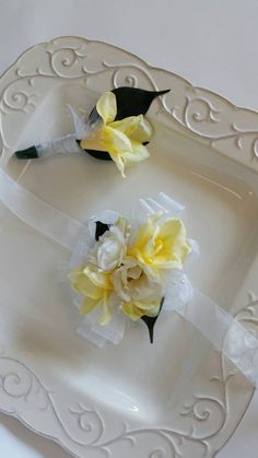 Yellow and Ivory Wrist Corsage with by SterlingCottageShop on Etsy