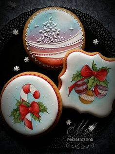 I Had No Idea This Kind of Cookie Art Was Possible photos) Kinds Of Cookies, Fancy Cookies, Cupcake Cookies, Sugar Cookies, Holiday Cupcakes, Holiday Cookies, Christmas Biscuits, Christmas Deserts, Paint Cookies