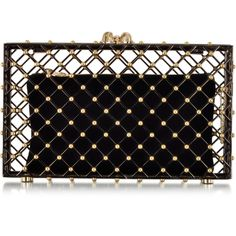 Charlotte Olympia Linear Pandora Black and Gold Clutch ($2,995) ❤ liked on Polyvore featuring bags, handbags, clutches, black and gold handbag, clasp handbag, black and gold purse, chain handbags and embellished handbags