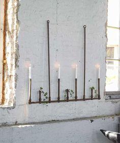 Ljusstakar - Fri Frakt - Fri Retur - Hippo and the Bird Copper Furniture, Loft, White Candles, Modern Rustic, Garden Inspiration, Candle Sconces, Light In The Dark, Rustic Decor, Flower Arrangements