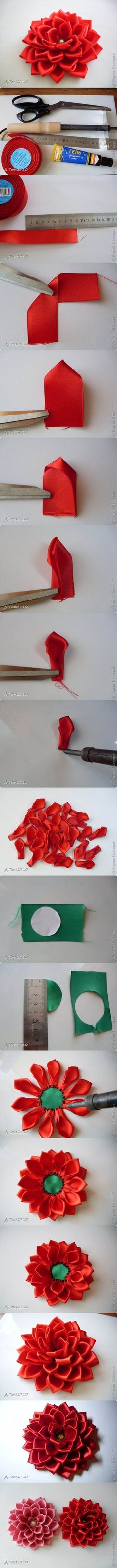 DIY Satin Ribbon Dahlia Petals | iCreativeIdeas.com LIKE Us on Facebook ==> https://www.facebook.com/icreativeideas