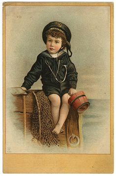 Victorian Trade Card of a boy in sailor suit.