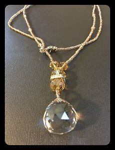 Large Round Crystal ON A Seed Bead Necklace | eBay