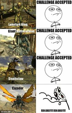Started New Vegas again, this sums it up perfectly Fallout Tips, Fallout Funny, Fallout Fan Art, Fallout 4 Mods, Fallout New Vegas, Fallout Comics, Gamer Humor, Gaming Memes, Fallout Cosplay