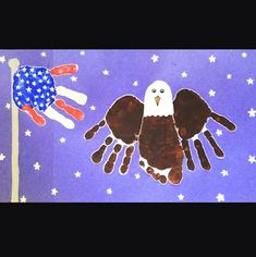 Here's an adorable handprint craft idea for the 4th of July! Make a handprint American flag and bald eagle! For the flag, just paint 3 fingers red, and the other 2 white. Then paint the whole palm blue. Have the kids press it on a piece of white paper and let dry. Go back with … #artsandcraftsforpre-schoolers,