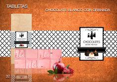 Cremosa tableta de chocolate blanco con sabor a fruta de granada, fruta autóctona española.  Mínimo cacao 29%. Producto sin gluten.