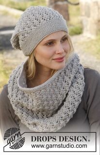 "Knitted DROPS neck warmer and hat with lace pattern in ""Lima"". ~ DROPS Design"