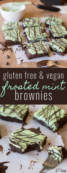 Gluten Free Frosted Mint Brownies (Vegan): Dense and chewy gluten-free mint brownies covered with naturally colored mint frosting - these are AMAZING!! - @TheFitCookie