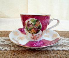 Antique Demitasse Cup Saucer Bavaria by HiddenStairwayFinds