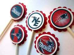 Patriots Cupcake Toppers    Football Birthday cake photos. The best football cakes on Pinterest and the best football cakes on the web! Football cake ideas such as Football Stadium cakes, football field cakes, football helmet cakes, and football logo cakes. #football #cakes #gifts