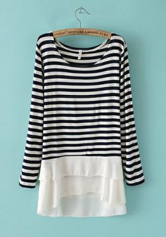 Black Blending Round Neck Long Sleeve Striped Patchwork TOPS