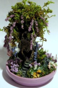 OOAK-Miniature-Valentines-Day-Fairy-Tree-House-Garden-With-Koi-Pond