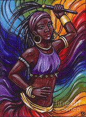 Orisha Paintings - Oya I Orisha Of Lightning by Carolina Gonzalez