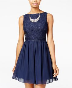 Speechless Juniors' Glitter Lace Party Dress A Macy's Exclusive - Juniors…