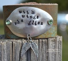 With Wings She Flies- Hand Stamped Spoon Cuff