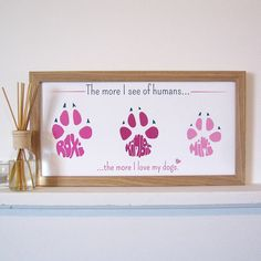 personalised pet paw print by name art | notonthehighstreet.com