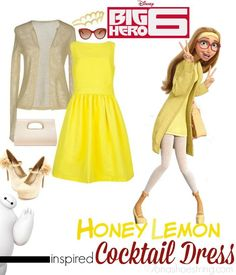 Fashion Inspired by Big Hero 6 Red Carpet - Honey Lemon inspired cocktail dress #DisneyBounding