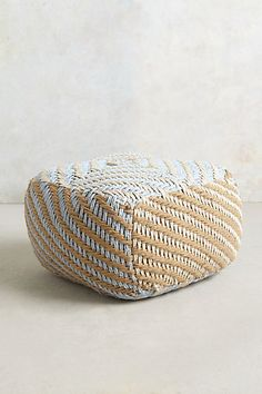 Large Diamond-Weave Pouf - anthropologie.com