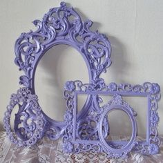 purlple chalk painted furniture | Lace ornate french lilac lavender purple open vintage wall gallery set ...