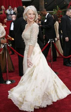 "Dame Helen Mirren, ""The Queen"", Christian Lacroix, Oscars She always looks so good. Oscar Gowns, Oscar Dresses, Evening Dresses, Helen Mirren Oscar, Helen Mirren Hair, Dame Helen, Oscar Fashion, 50 Fashion, Ageless Beauty"