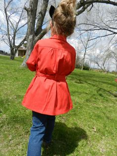 Little girls trench coat red with tie belt. by DandelionsandWishes, $48.00