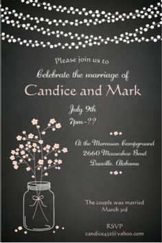 After the Wedding Party Invitations or Elopement Party invitations mason jar and lights