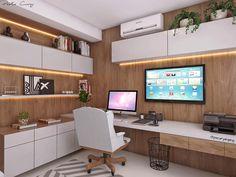 """777 Likes, 15 Comments - Paola Cury Arquitetura e Eng. (@pacuryarqeng) on Instagram: """"Projeto do dia: um home office todoooo cheio de detalhes: em tons de cinza, madeira (muita!) e…"""""""
