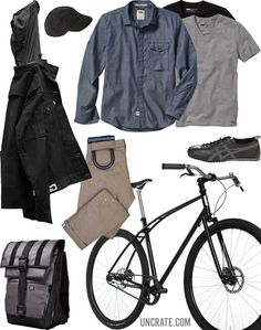 Levi's Commuter 511 Trousers ($78). Levi's Commuter Hooded Trucker Jacket ($128). Levi's Commuter Workshirt ($88). Levi's Slim Fit Vneck Tees ($28). Budnitz No.3 Bicycle ($2,800). Outlier Supermarine Summer Storm Cap ($75). Mission Workshop Vandal Backpack ($279). Asics Onitsuka Tiger Keirin Sneakers ($95).
