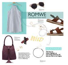 """Romwe Blue Stripe Dress"" by chakragoddess ❤ liked on Polyvore featuring NYX"