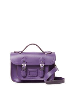 Cambridge Satchel Mini Satchel Bag In Purple Satchel Bag, Purple Bags, Shoulder Strap, Shoulder Bags, Cambridge Satchel, Leather Bag, Logo Design, Handbags